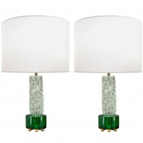 Pair of Scandinavian Glass Lamps