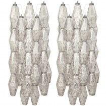 Pair of Sconces with Polyhedral Shaped Glass