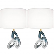 Pair of Sculptural Ceramic Lamps