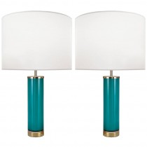 Pair of Swedish Aqua Glass Lamps