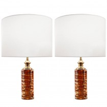Pair of Swedish Deep Amber Glass Lamps