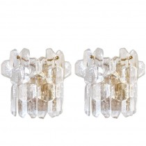Pair of Thick Textured Glass Sconces by J. T. Kalmar