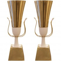 Pair of Tommi Parzinger Brass Torchieres