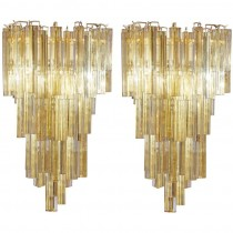 Pair of Venini Tiered Amber Glass Sconces