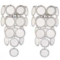 Pair of Vistosi White and Clear Glass Disk Sconces