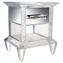 Lucere Lucite Table with Mirrored Drawer by Craig Van Den Brulle