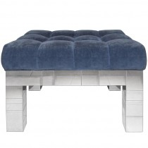 Signed Paul Evans Cityscape Chrome Upholstered Bench