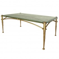 Italian Foraged Bronze and Textured Glass Coffee Table