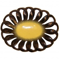 Vallauris Looped Edge Ceramic Bowl with Yellow Center