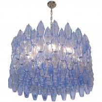 Polyhedral Blue Glass Chandelier