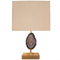 Willy Daro Bronze and Agate Lamp