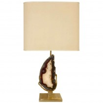 Willy Daro Large Bronze and Agate Lamp