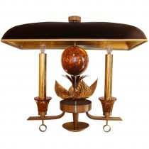 French Bronze Sconce with Shade C. 1940's