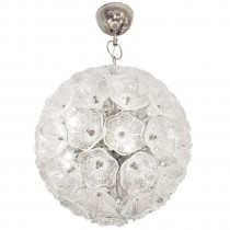Murano Chrome & Glass Flower Ball Chandelier