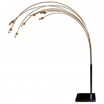 Italian Brass & Blackened Steel 7 Arm Floor Lamp