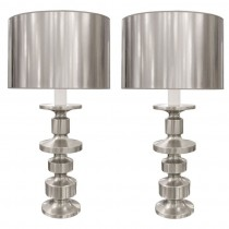 Pair of Large Modernist Polished Nickel Lamps