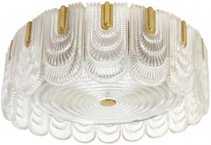 Austrian Glass and Brass Flush Mount Fixture