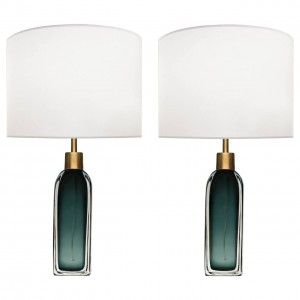 Pair of Nils Landberg for Orrefors Green Glass Lamps