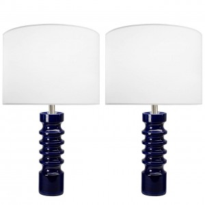 Pair of Sculptural German Blue Ceramic Lamps