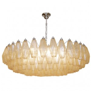 Venini Polyhedral Amber Glass Chandelier