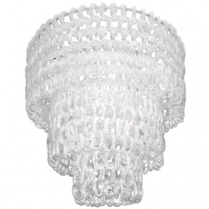 Barovier Fluted Clear Glass C-Chain Chandelier