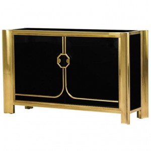 Mastercraft Black Lacquered and Patinated Bronze Cabinet