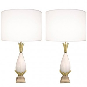 Pair of Fluted Murano Glass Lamps