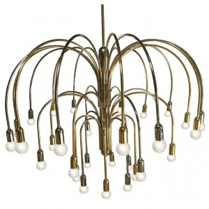 Large German Brass and Chrome Chandelier