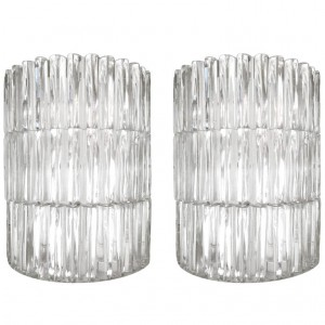 Pair of Fluted Glass Sconces Attributed to Hillebrand or Kaiser