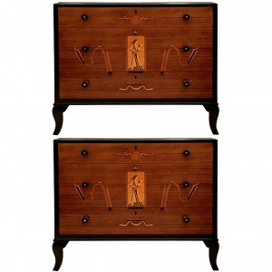 Italian Mahogany and Maple Chest of Drawers