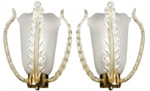 Pair of Orrefors Brass and Glass Leaf Sconces