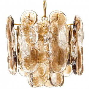 Mazzega Topaz and Clear Sculptural Glass Chandelier (Four Available)