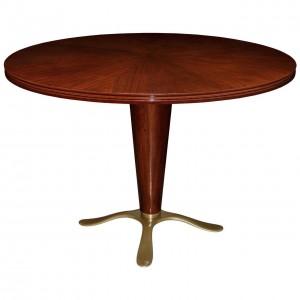 Paolo Buffa Mahogany and Bronze Pedestal Table