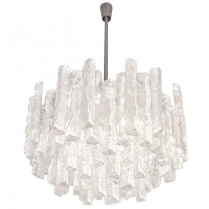 J. T. Kalmar Thick Textured Clear Glass Chandelier ( Four Available )