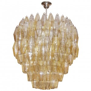 Venini Amber and Gray Polyhedral Glass Chandelier