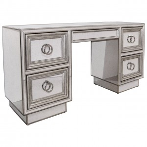 Mirror and Silver Leaf Desk or Vanity