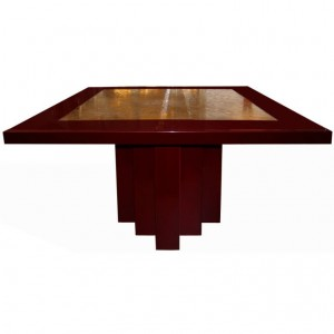 Signed George Mathias Etched Bronze Deep Red Lacquered Table