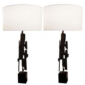 Pair of Modernist Brutalist Steel Lamps