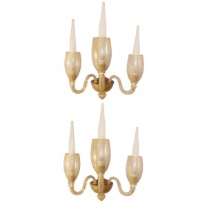 Pair of Barovier 3 Arm Gold Glass Sconces