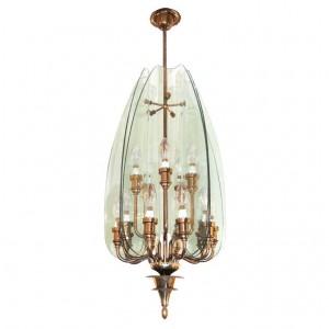 Pietro Chiesa for Fontana Arte Glass and Brass Chandelier