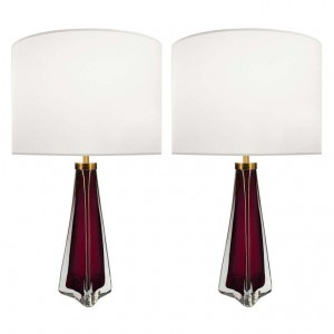 Pair of Carl Fagerlund for Orrefors Raspberry and Clear Glass Lamps