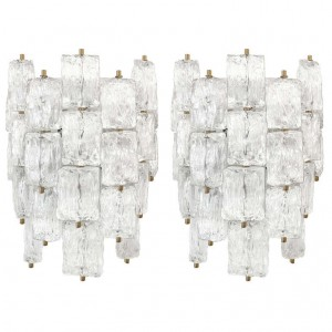 Pair of Venini Textured Glass and Brass Sconces