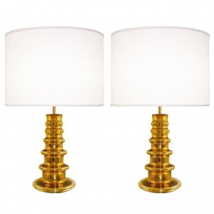 Pair of Johanfors Gold Glass Lamps