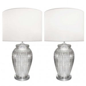 Pair of Fluted Mercury Glass Lamps