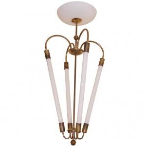 Italian Brass Chandelier with Tubular Bulbs