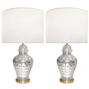 Pair of Faceted Mercury Glass Lamps