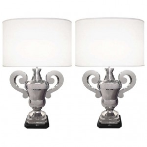 Pair of Polished Nickel Urn Lamps