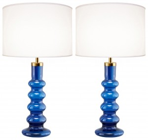 Pair of Large Swedish Blue Glass Lamps