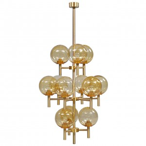 Brass and Glass Chandelier by Uno & Osten Kristiansson (Two Chandeliers Available)