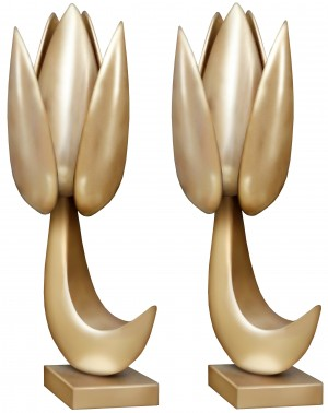 Pair of French Abstract Sculptural Bronze Lamps